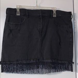 NWT Express Black Mini Skirt with Fringe, Size 14